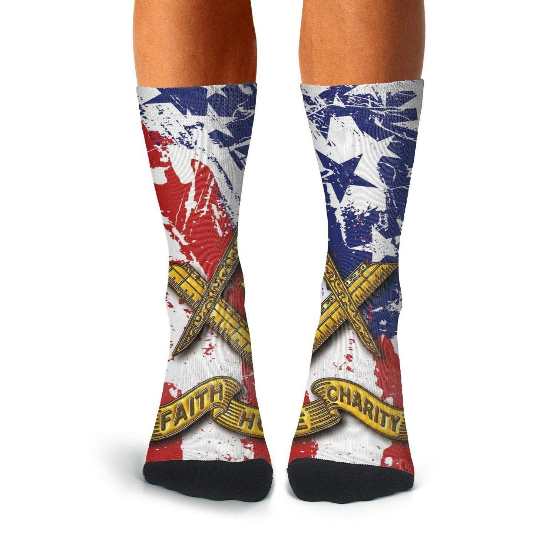 KCOSSH American Flag Funny Crew Sock Pattern Calf Socks for Mens