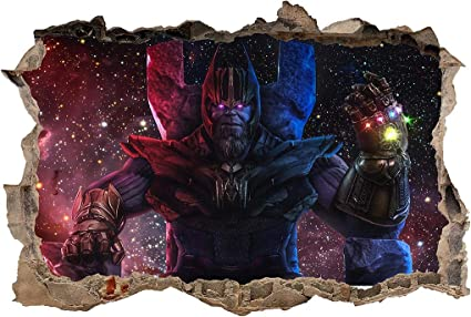 The Avengers Thanos 3D Smashed Wall Sticker Decal Home Decor Art Mural J1406