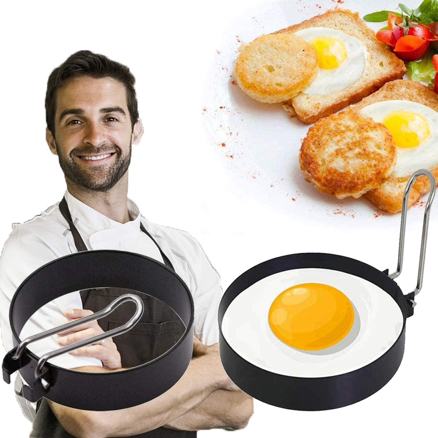 2Pcs Egg Ring, Round Egg Cooker Rings, Stainless Steel Non Stick Egg Mcmuffin Maker Egg Molds For Frying Mold Shaper Circles Egg Ring For griddle Cooking Fried Shaping Egg, Pancakes, Sandwiches
