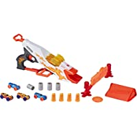 Nerf DoubleClutch Inferno Nitro Toy Includes Blaster, 4 Foam Body Cars, Double Reactive Target, Double Ramp, and 8 Obstacles for Kids 5 Years Old and Up