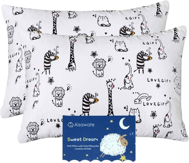 Juego de 2 fundas de almohada para cuna de bebé, 40 x 60 cm, reemplazo en 100% algodón suave, lavable a máquina, libre transpirable Blanco-animal