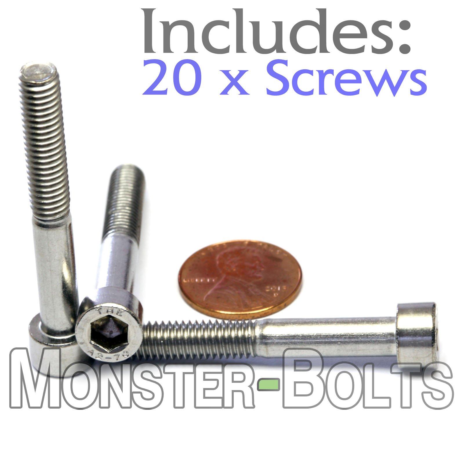 (20) M6-1.0 x 45mm - Stainless Steel Socket Head Cap Screws A2-70/18-8 DIN 912 - MonsterBolts (20, M6 x 45mm)