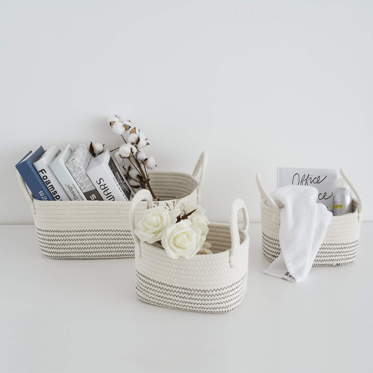 Cotton Rope Storage Baskets Storage Bins Organizer Decorative Woven Basket With Handles for Nursery Baby Clothes, Toy, Makeup, Books, Set of 3 by UBBCARE
