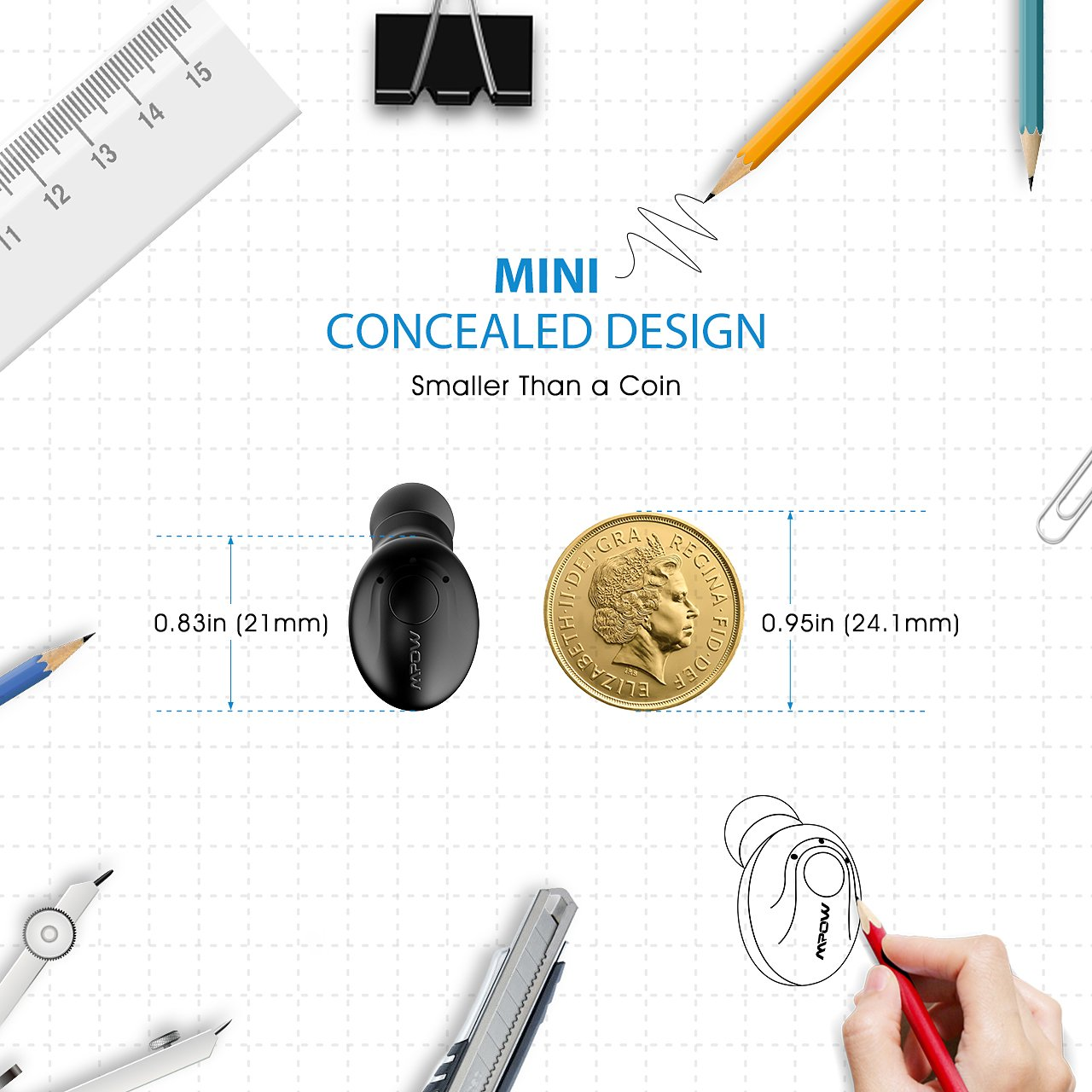 Mpow EM1 Bluetooth Earpiece, V4.1 Wireless Headphones, 6-Hr Playing Time Mini Bluetooth Earbud with Microphone, Invisible Car Bluetooth Headset for Cell Phone (One Pcs, Two Charger) by Mpow (Image #6)