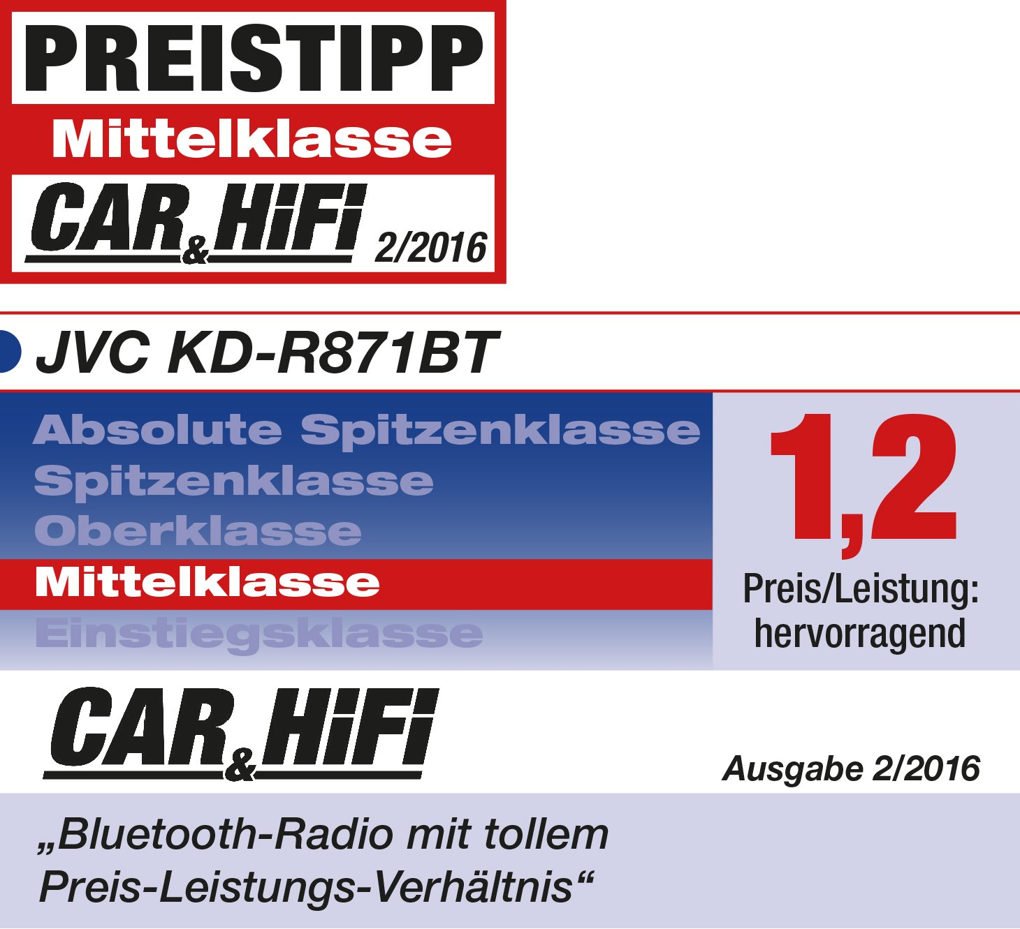 JVC KD R871BT Autoradio USB CD Receiver mit Bluetooth Amazon
