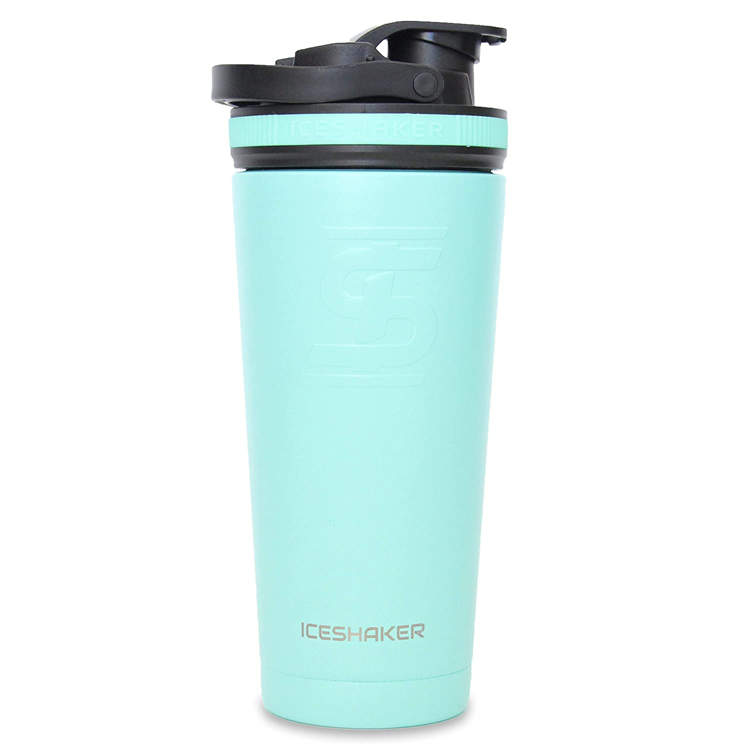 Ice Shaker Stainless Steel Insulated Water Bottle Protein Mixing Cup (As seen on Shark Tank) (Mint 26 oz)