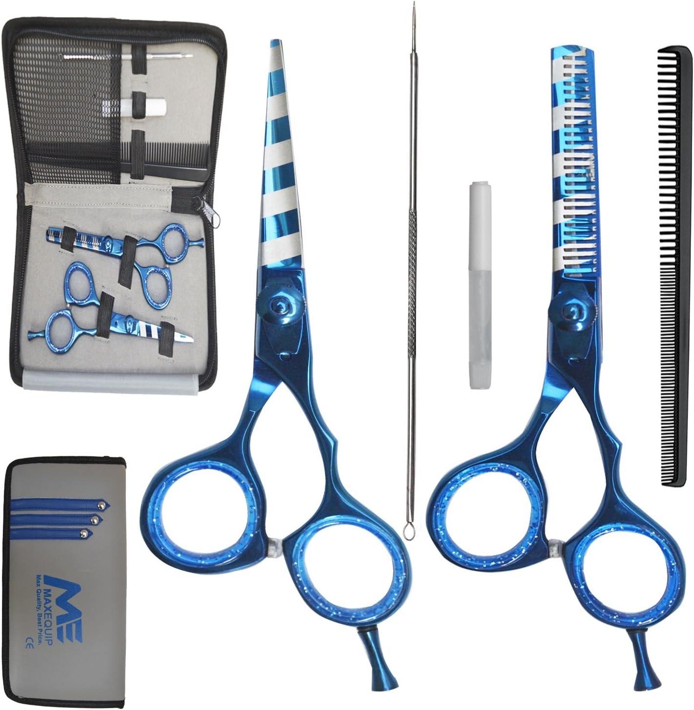 Tijeras de peluquería de 5 piezas, set de regalo, tijeras para peluquería, peine, aceite, extractor de puntos negros, bolsa a juego, calidad profesional, color azul