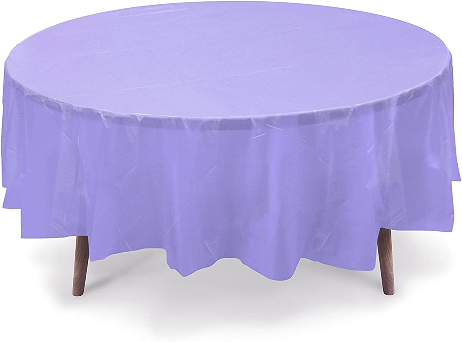 """10 PACK 84"""" Round Plastic Table Cover, Plastic Table Cloth Reusable (PEVA) (Lavender)"""