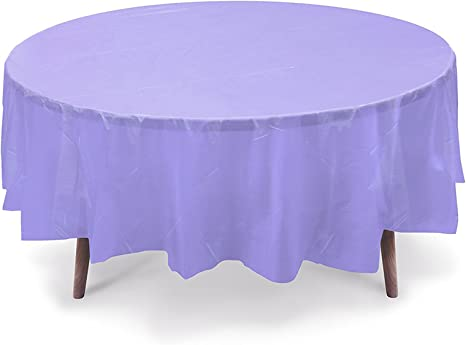 12 Pack Premium Lavender Round 84 inch Plastic Disposable Table Cover Table Cloth