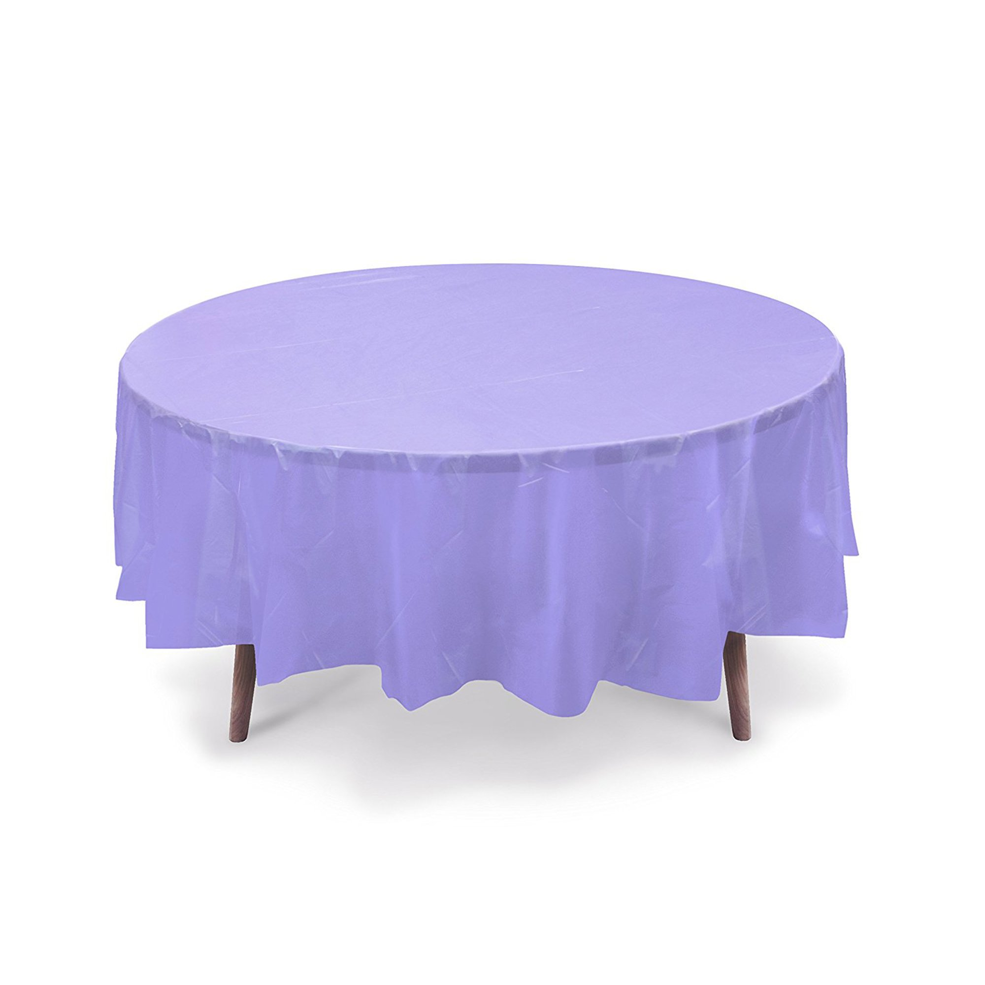 10 PACK 84'' Round Plastic Table Cover, Plastic Table Cloth Reusable (PEVA) (Lavender)