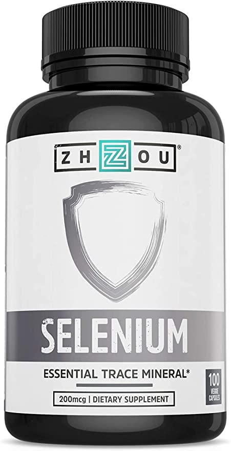 Zhou Selenium 200mcg | for Thyroid, Prostate and Heart Health | Essential Trace Mineral with Superior Absorption | No Yeast | 100 Veg Caps