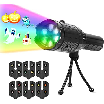 UpperX LED Projector Lights, Battery Operated 2 in 1 Holiday Light &Handheld Flashlight for Home/Outdoor Party,Birthday,Christmas,Halloween,Easter, Black