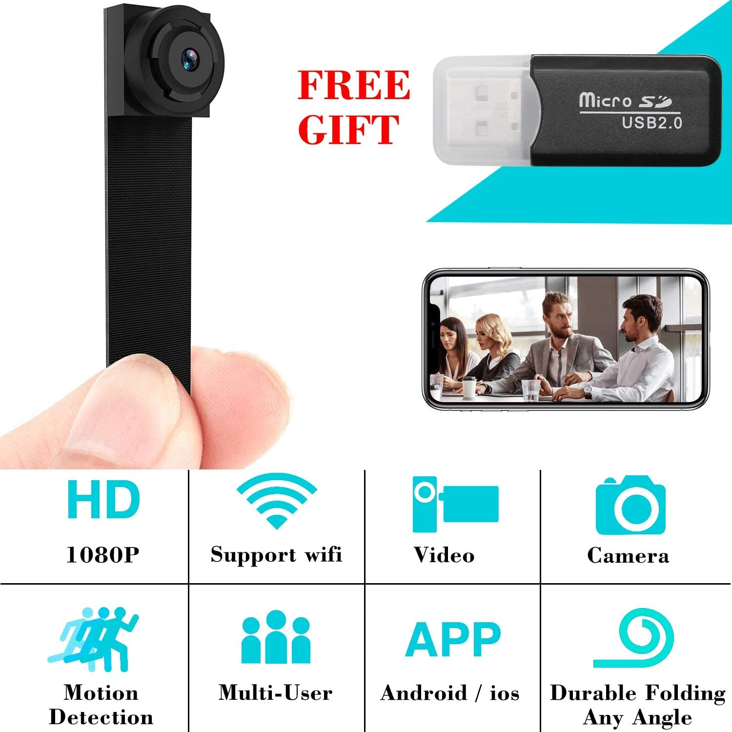 Wallfire V380 Wireless Mini WiFi IP Camera HD 1080P Smart Home Wireless Security Camera WiFi Home Indoor Night Vision Network Camera with Motion Detection for Baby//Pet//Nanny