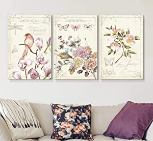 wall26 3 Panel Canvas Wall Art - Vintage Style Birds Flowers on Floral Background - Giclee Print Gallery Wrap Modern Home Art Ready to Hang - 16