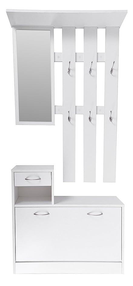 Ts Ideen Wand Garderobe Spiegel Schuhkipper Schuhschrank Mit Schublade Holz  Weiß