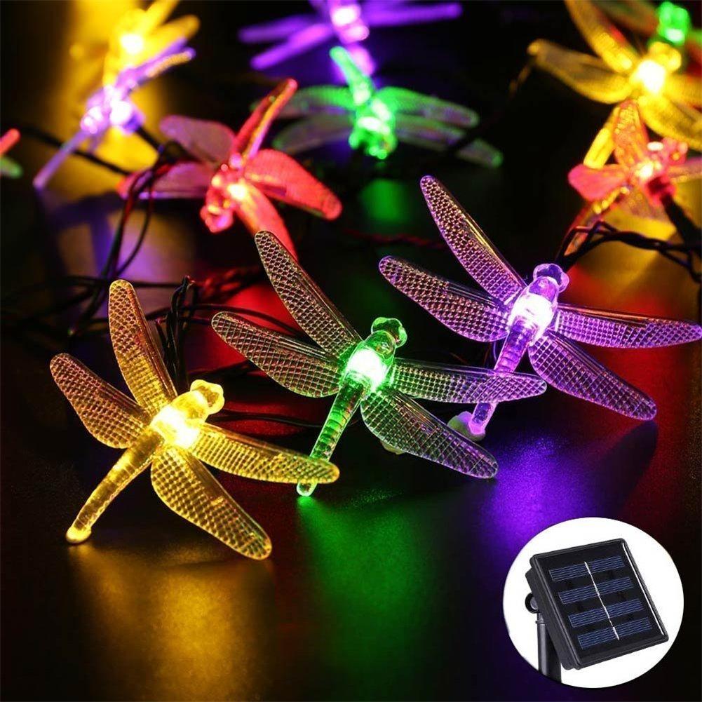 ATD Creative Cute Animal Shapes Multicolor Solar String Lighting,Solar 20LED Dragonfly Waterproof Energy Saving String Lighting