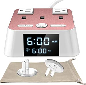 Alarm Clock with USB Charger - Alarm Clock Charging Station Dock with 3 USB Charging Ports and 2 AC Outlets Surge Protector, 6ft cord UL Listed, Bedside USB Alarm Clock For Home Bedrooms Dorm Hotel