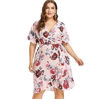 DEZZAL Women\'s Plus Size V-Neck Short Sleeve Floral Print ...