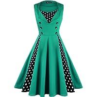 OWIN Women's Polka Dot Retro 1950s Rockabilly Cocktail Swing Party Dress