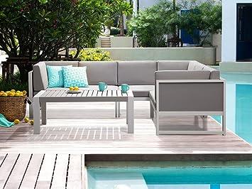 Salon de jardin - Canapé d angle et table basse - aluminium - blanc ...