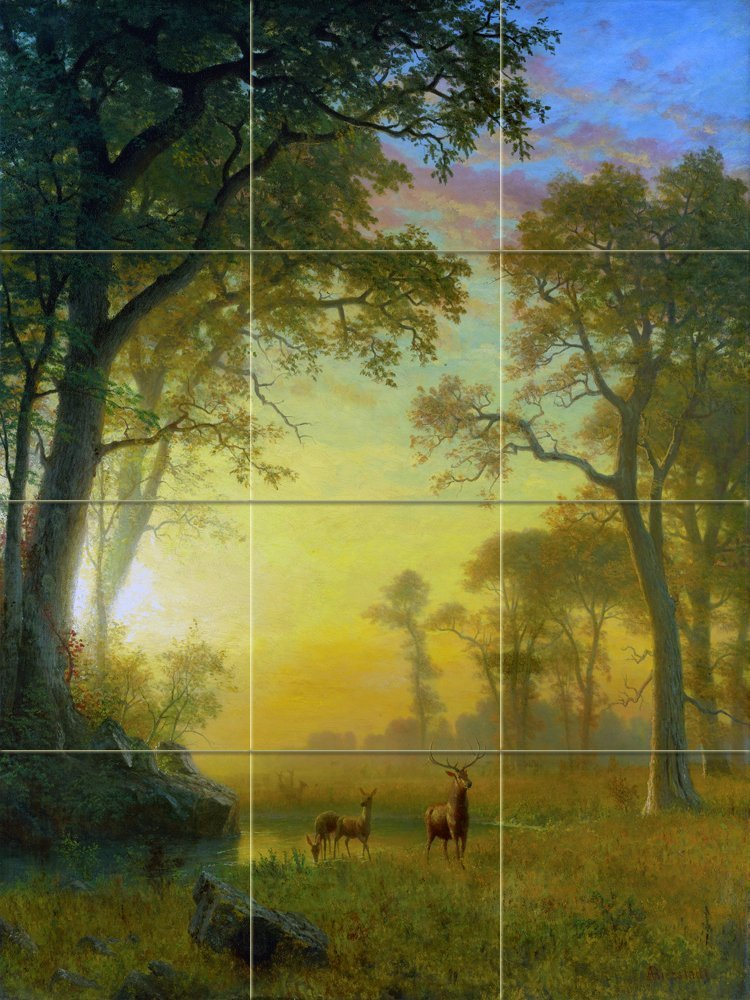 LIGHT IN THE FOREST by Albert Bierstadt Tile Mural Kitchen Bathroom Wall Backsplash Behind Stove Range Sink Splashback 3x4 6'' Rialto by FlekmanArt