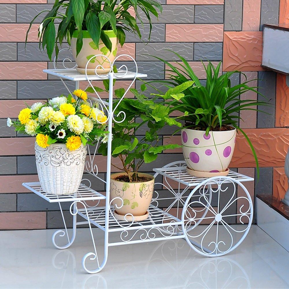 LIZX Iron flower racks | flower pot rack | European style living room balcony interior | multi-purpose flower rack ( Color : White , Size : M )