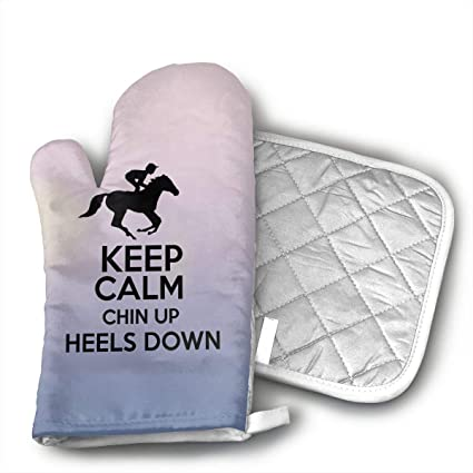 keep calm chin up heels down horse riding lunch boxjpg oven mitt 9 x - Chins Kitchen 2