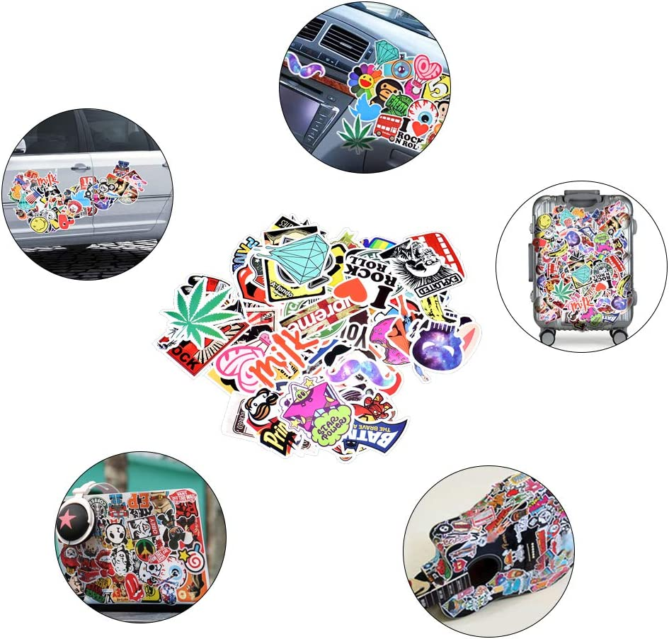 Autocollants de Voiture de Graffiti Autocollants imperm/éables de Vinyle pour la Guitare de Tapis de Moto de Bagage de Bicyclette de Moto 100 pcs Divers avec Aucun r/ép/étition