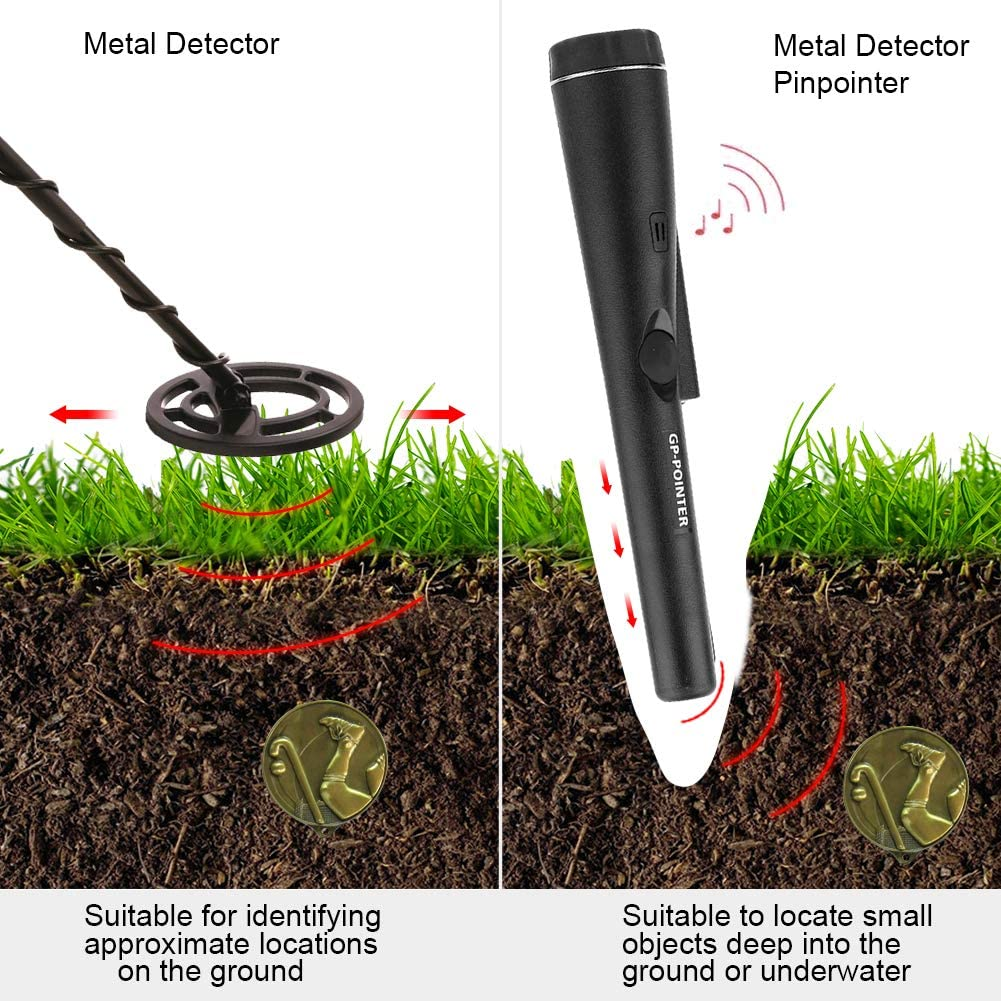 Three Mode 360/°Search Treasure Pinpointing Finder Probe with Belt Holster for Adults and Kids SUGERYY Fully Waterproof Metal Detector Pinpointer Include a 9V Battery