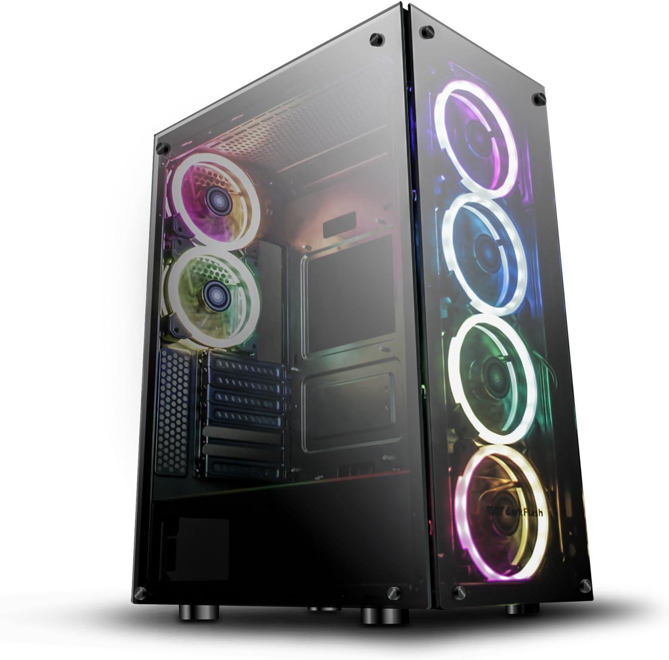 Darkflash T20Noir ATX Mid-Tower Ordinateur de Bureau Gaming Coque en Verre trempé de Ports USB 3.0PC Windows avec 1120mm LED Rainbow teintée Phantom