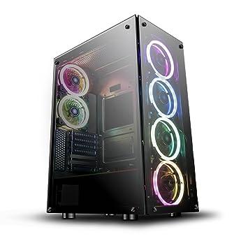 darkFlash Phantom Black ATX Mid-Tower Desktop Computer Gaming Case USB 3 0  Ports Tempered Glass Windows with 6pcs 120mm LED DR12 RGB Fans