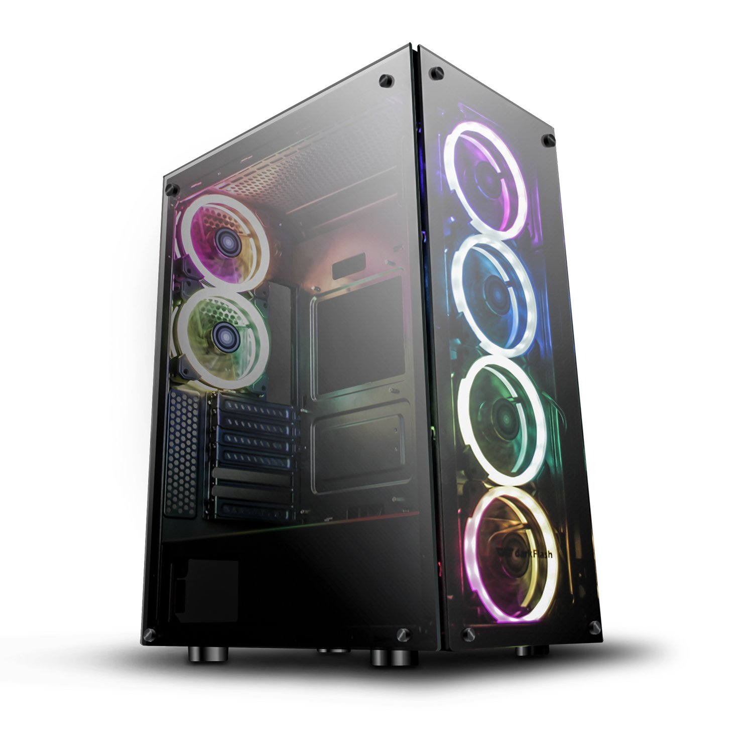 darkFlash Phantom Black ATX Mid-Tower Desktop Computer Gaming Case USB 3.0 Ports Tempered Glass Windows with 6pcs 120mm LED DR12 RGB Fans Pre-Installed