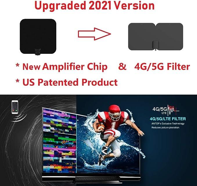 Antena de TV para Interiores, Antena HDTV TV Digital HD 4K, Rango máximo de 80 Millas, con Potente Amplificador de señal y Cable coaxial de 16.5 pies: Amazon.es: Electrónica