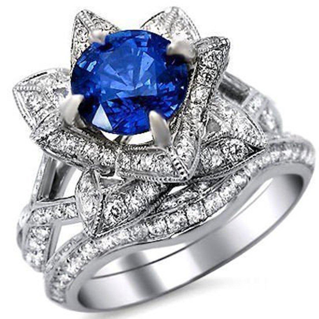 Smjewels 2.65 Ct Round Blue Sapphire Lotus Flower CZ Diamond Ring Bridal Set 14K White Gold Fn