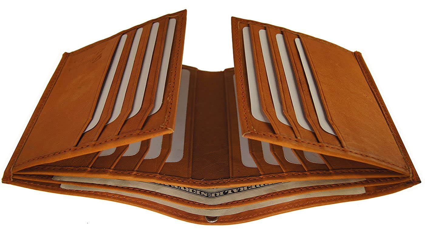 Top Product Tan Color Mens Premium Cowhide Leather European Multi Slots 2 ID Hipster Wallet