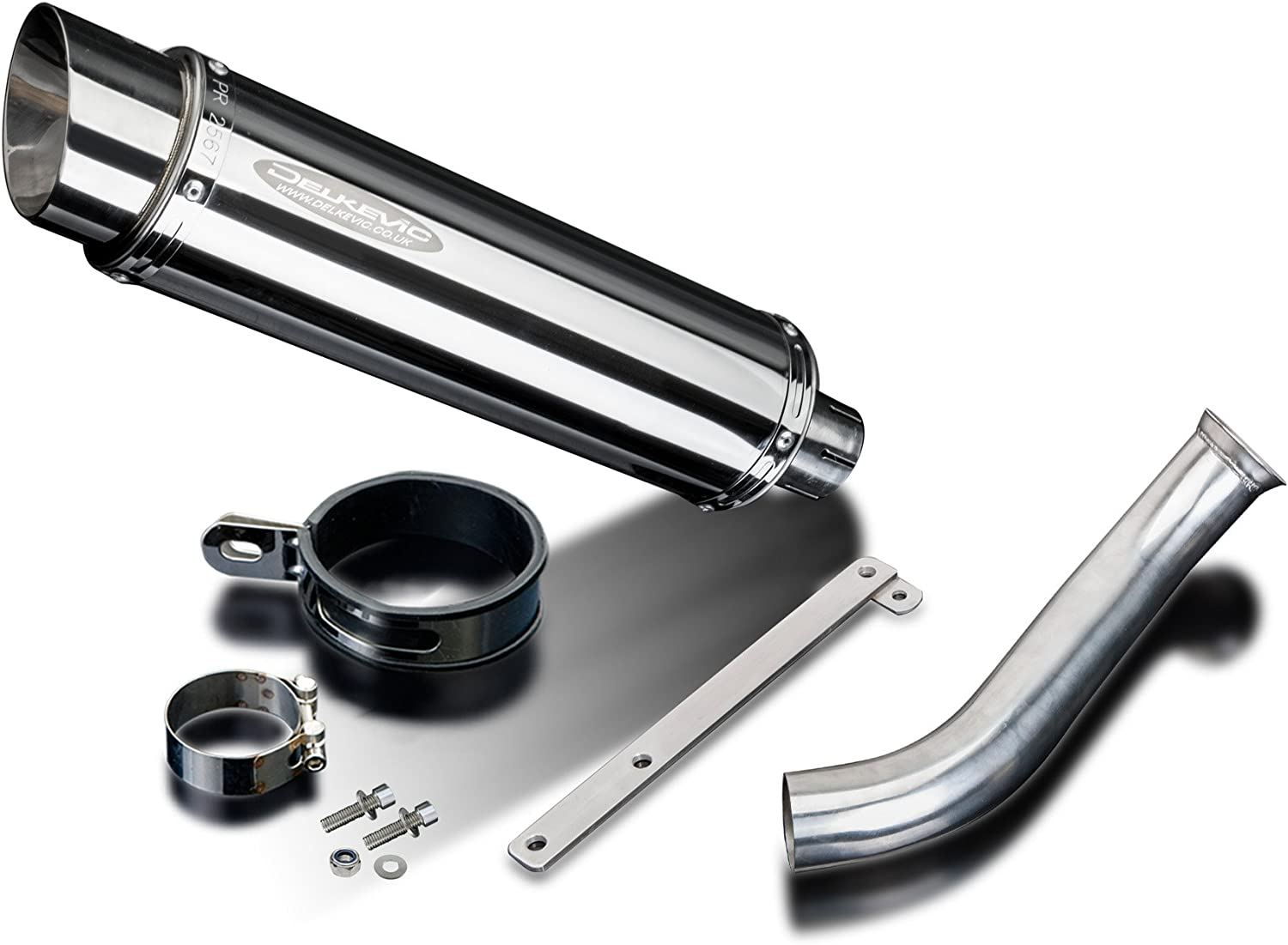 Delkevic Aftermarket Slip On compatible with Honda VFR750 SL10 14 Stainless Steel Round Muffler Exhaust 94-97