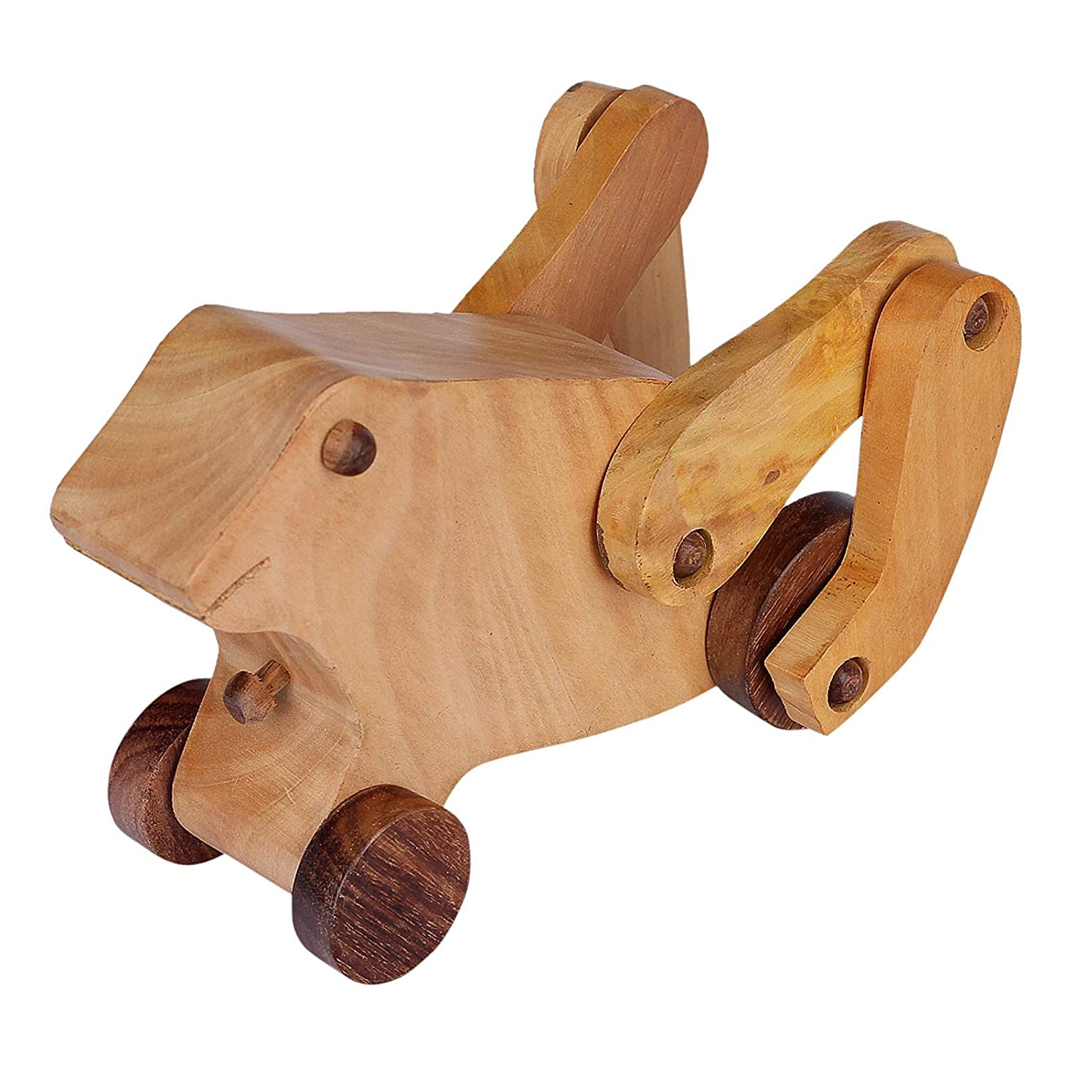 Handmade Wooden Pull Along Toy for Little Walkers in Frog Shape Without String MN wooden toy frog