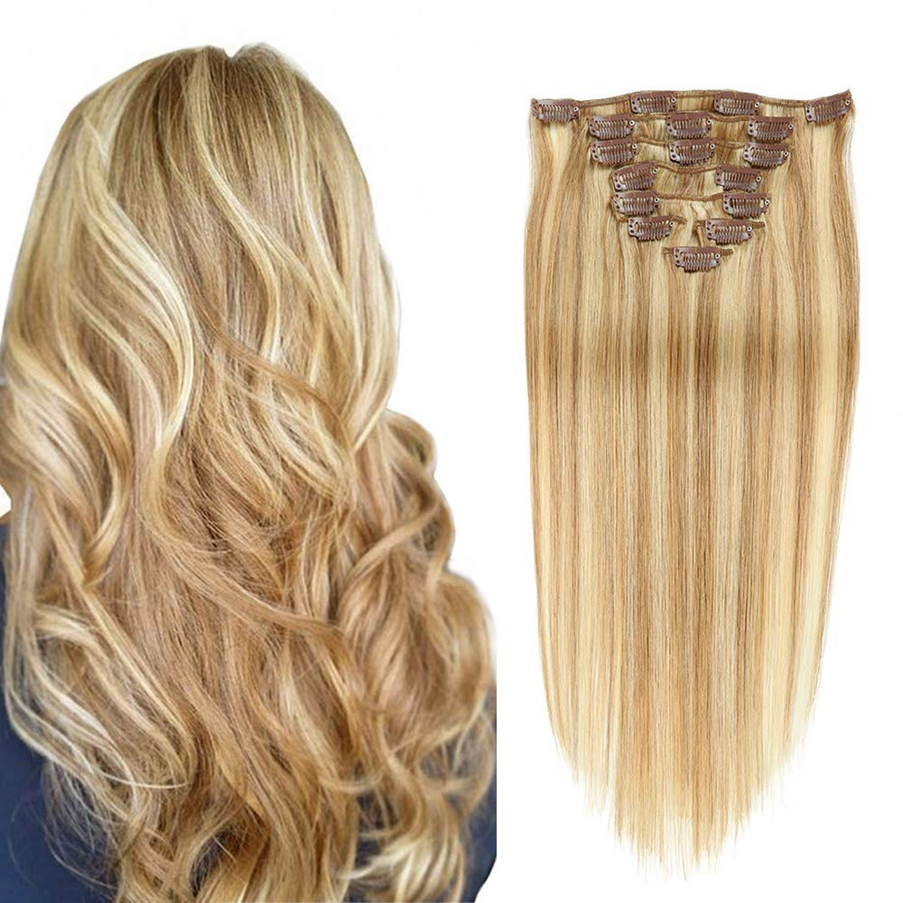 Double Weft Clip in 100% Real Remy Human Hair Extensions Thick Remi Hair Extensions Clip on for Fine Hair Full Head 8 pieces 14inch Silky Straight Strawberry Blonde to Bleach Blonde Hair by valen