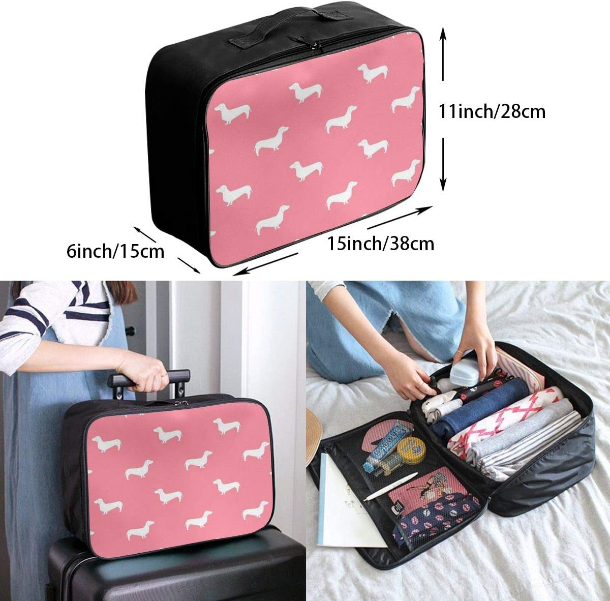 Dogs In Pink Background Travel Carry-on Luggage Weekender Bag Overnight Tote Flight Duffel In Trolley Handle
