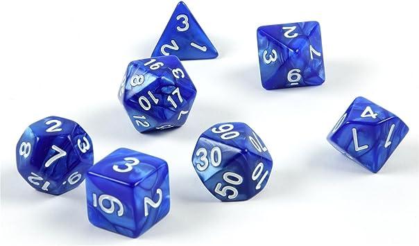 shibby 7 Dados poliédricos en Azul para Juegos de rol y Mesa ...