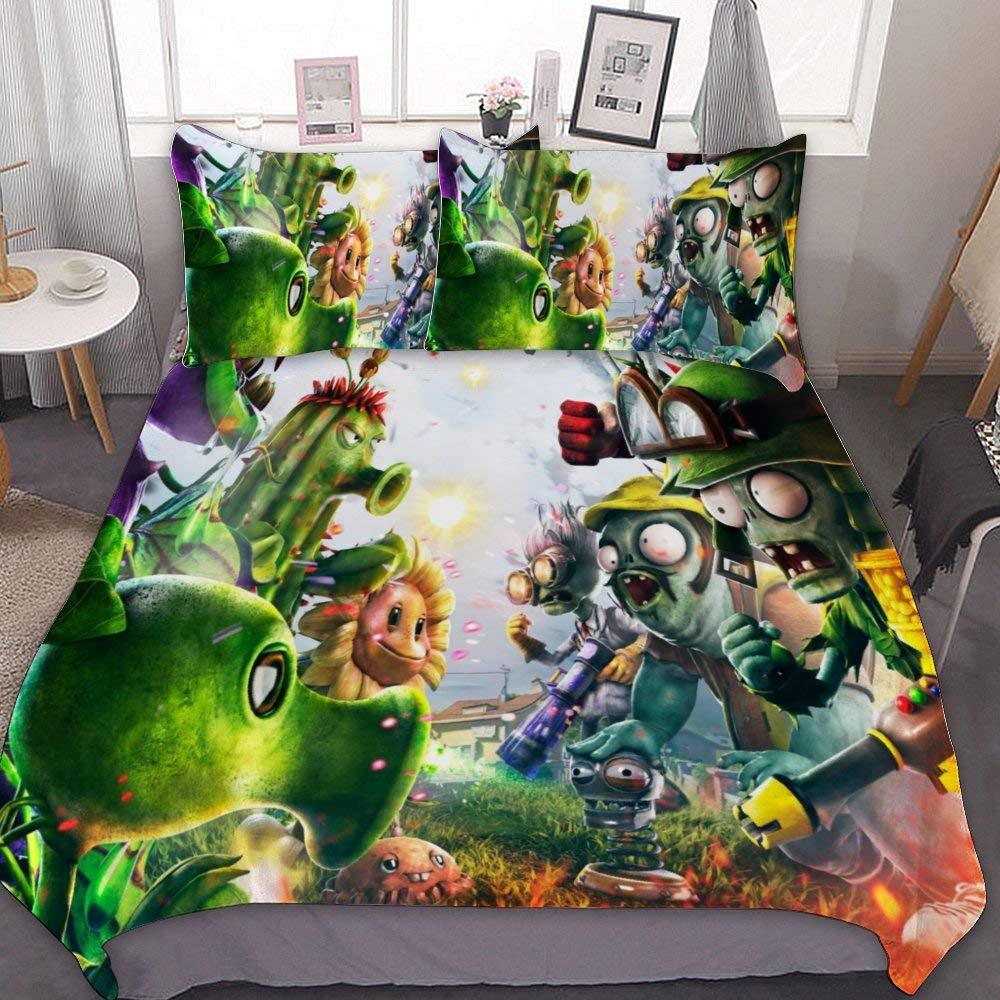 "SfeatrutMAT Bedding Duvet Cover 2 Piece Set,Plants Vs. Zombies Garden Warfare,Kids Girls Boys Cartoon Bed Set,Twin 55""x79"""
