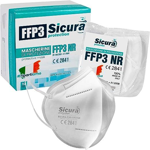10 mascherine protettive ffp3 certificate ce. made in italy. mascherine sigillate singolarmente. P30