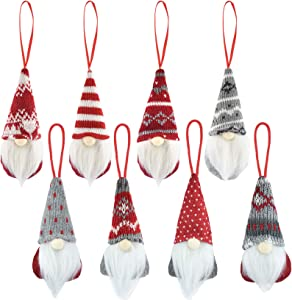 Dxhycc Christmas Gnomes Ornaments Set of 8, Swedish Handmade Plush Gnomes Santa Elf Table Ornaments Hanging Christmas Tree Decorations Home Decor