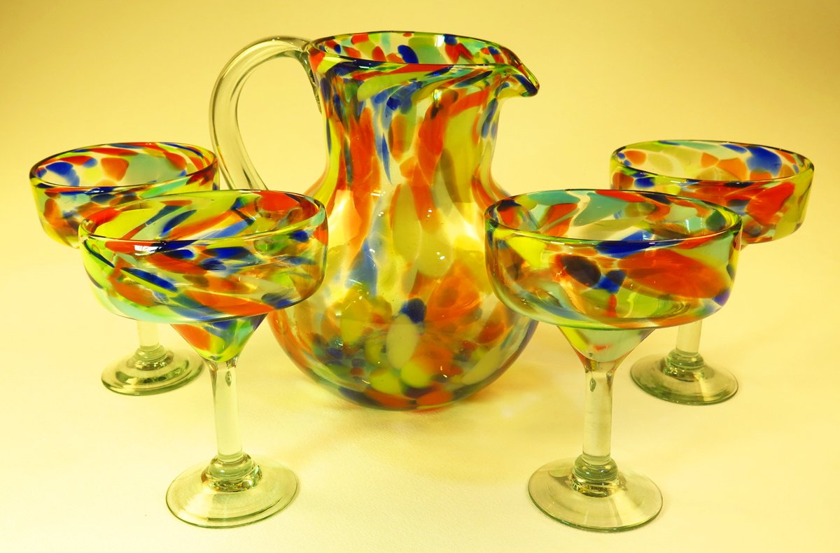 Mexican Margarita Glasses & Pitcher, Confetti Swirl (Set of 4) by Mexican Glass (Image #1)
