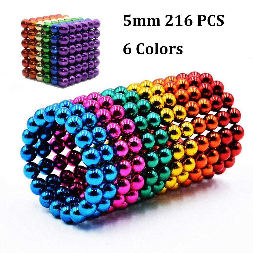 Magnetic Balls, MOYANG Magnetic Blocks Toy 5mm 216P DIY Building Puzzle Square Balls for Stress Relief Office Desk and Sculpture for Kids Educational Intelligence Learning and Creativity Development