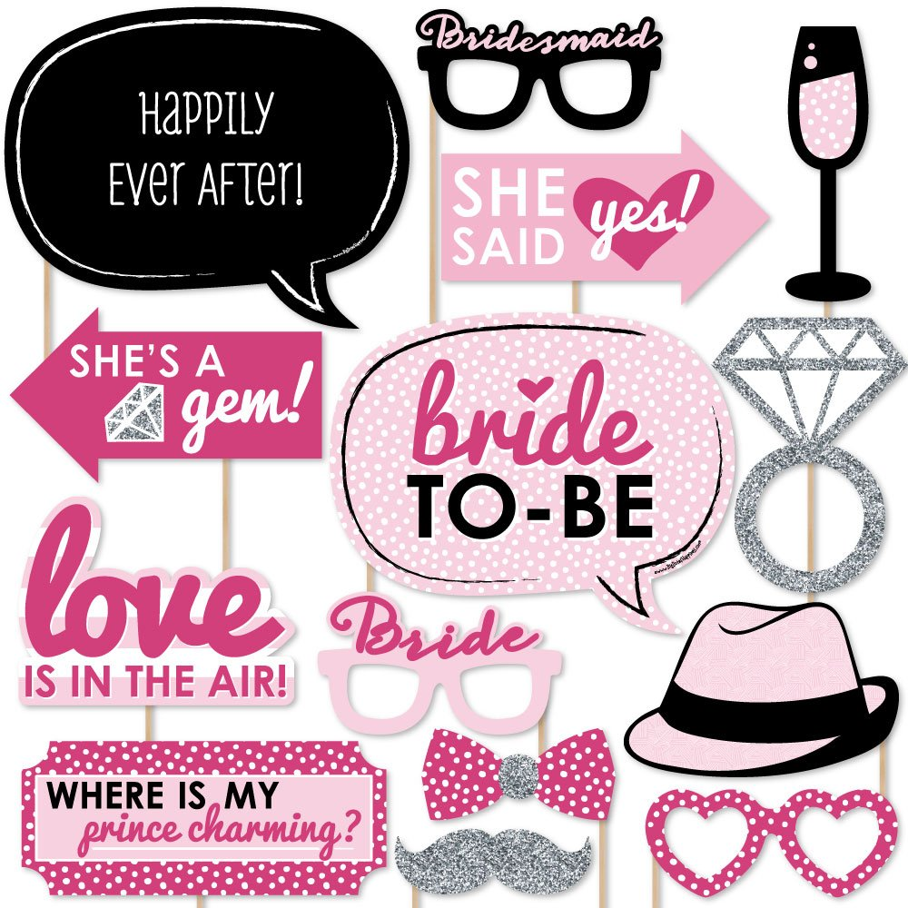 Bride To Be Bachelorette Party Photo Booth Props Kit 20 Count