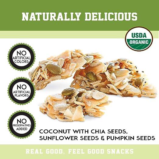 Creativos aperitivos de coco orgánicos con semillas de chia ...