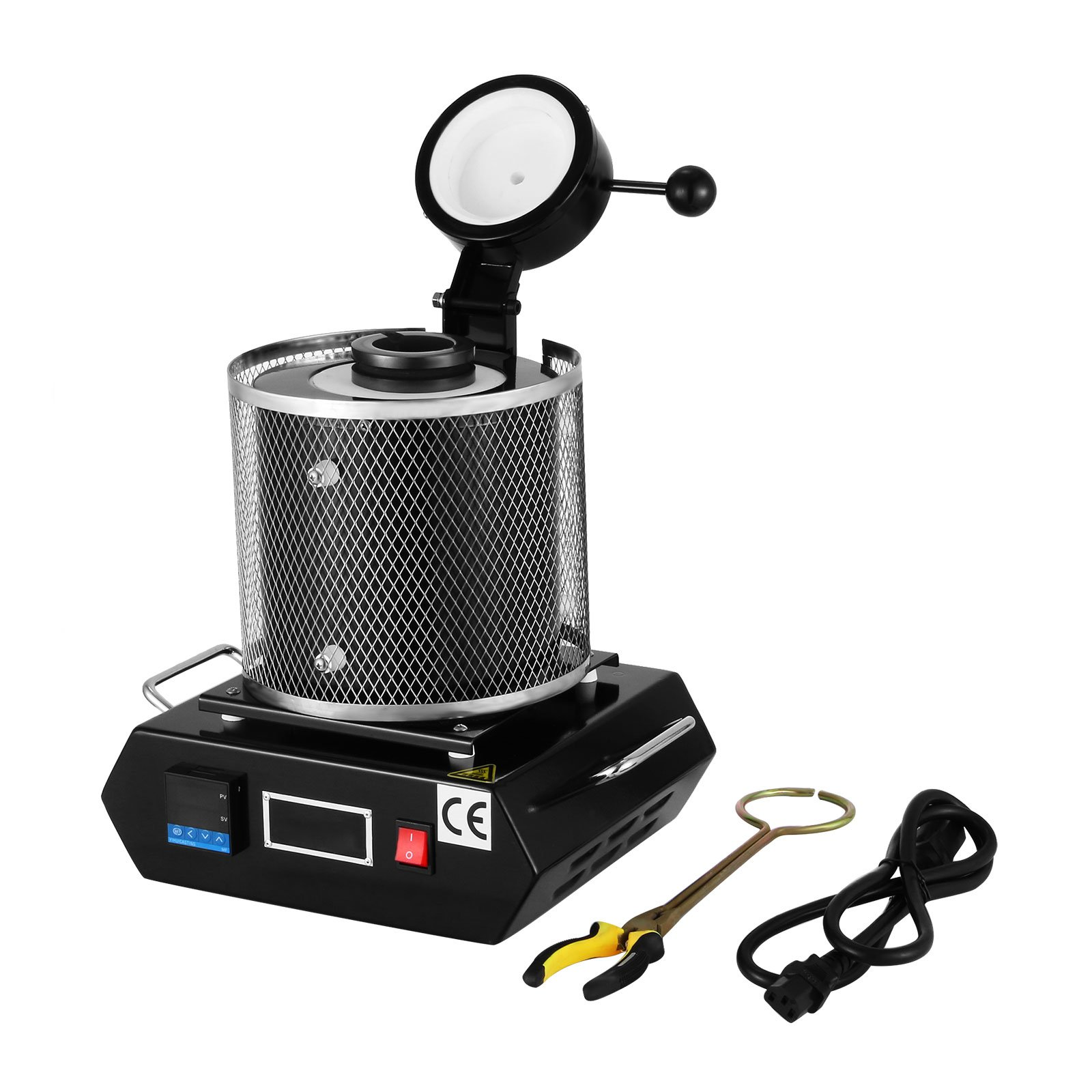 Happybuy 3KG Gold Melting Furnace 2102℉ Digital Melting Furnace Machine Heating Capacity 2100W Casting Refining for Precious Metals Gold Silver Tin Aluminum (3KG)
