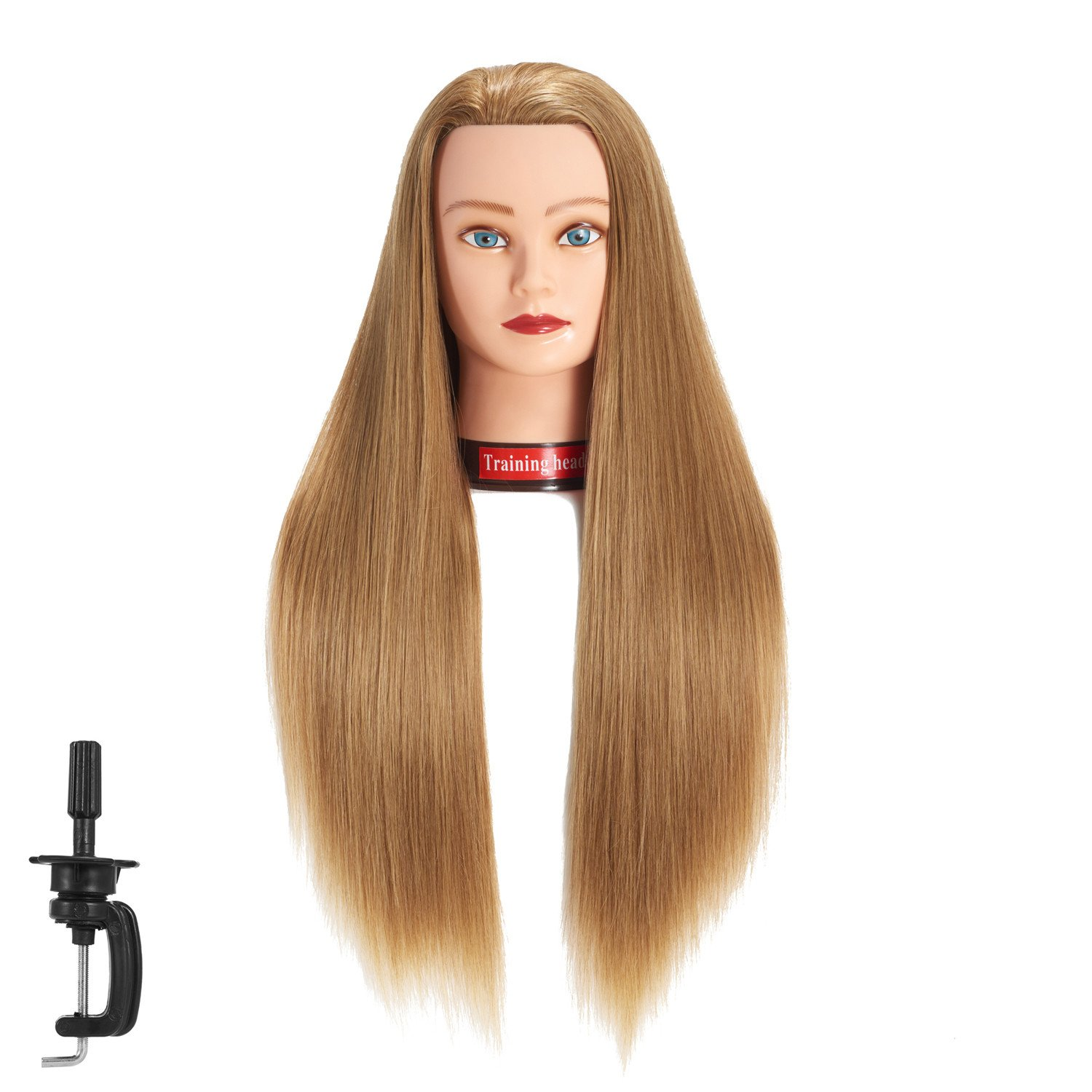 26-28 Mannequin Head Hair Styling Training Head Manikin Cosmetology Doll Head Synthetic Fiber Hair Hairdressing training model with free clamp