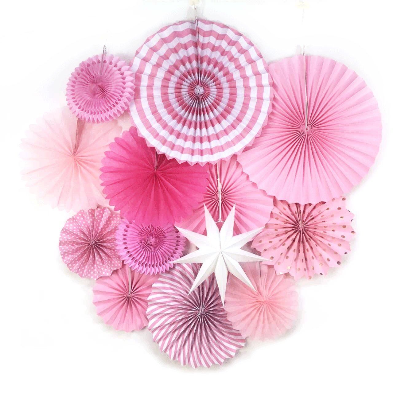 Pink Party Supplies Paper Fans Paper Rosettes Birthday Wedding Bridal Showers Hanging Decorations SUNBEAUTY 13 Pieces